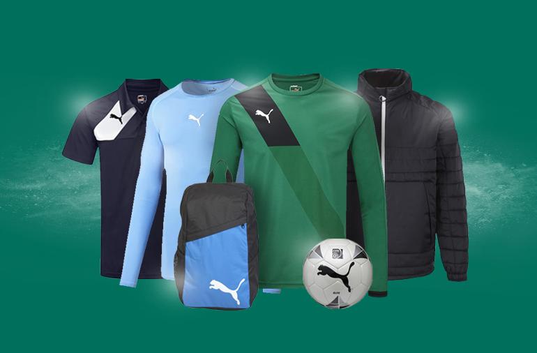 Selection of PUMA kit. Polo, baselayer, football shirt, ball, backpack and jacket.